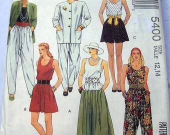 1991 easy McCall's 5400 size 12,14, adjustable for miss petite jacket, pants,blouse,  split-skirt 3 lengths