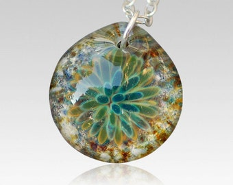 Cremation Pendant Pet Memorial Glass Flower Necklace Borosilicate Boro, Hand Blown Glass Ash Jewelry- Waves
