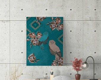 Canvas print, bohemian, owls, turquoise, ethnic, symbolic, secret messages, mysterious, vintage ornaments, tapestry, wall art, wall decor