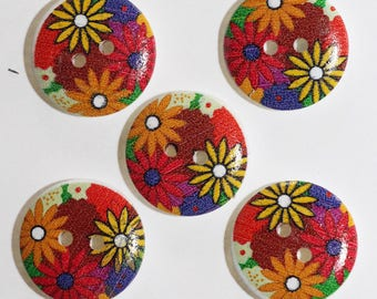 Floral print 20mm with 2 holes wood button: set of 10 2379