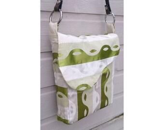 Vintage 50's green & white handmade messenger shopper shoulder bag