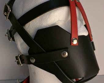 BDSM leather silencing muzzle - Made from superior quality 3mm leather