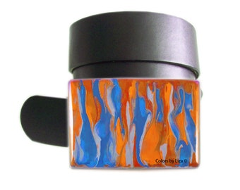 Bleeding Design Belt Buckle Orange and Chambray Blue on Silver Belt Buckle for Snap Belts Custom Colors Available