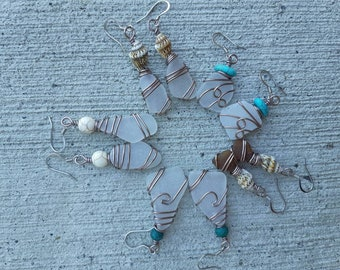 Colour Neutral Wire Wrap Seaglass Stainless Earwire Earrings