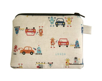 Car Robot Zipper Coin Purse - Small Padded Pouch - Robot Purse - Boy's Zipper Pouch - Kawaii Purse - Men's Bag