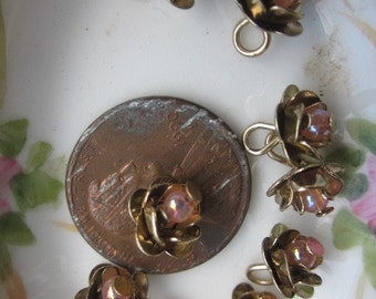 12 Tiny Roses With Glass Center And Hooped Backs