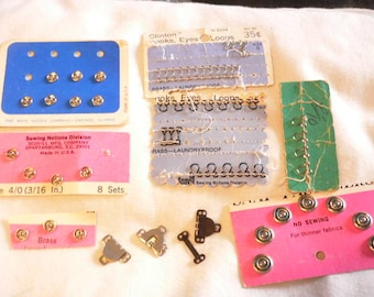 Vintage Snaps, Hooks,  Eyes and Loops Sewing Notions, Assorted