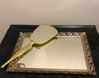 2 Piece Vanity Set - Large Vintage Brass Filigree Mirror Tray with Victorian Style Brass Vanity Hand Held Mirror Boudoir Wedding Keepsake