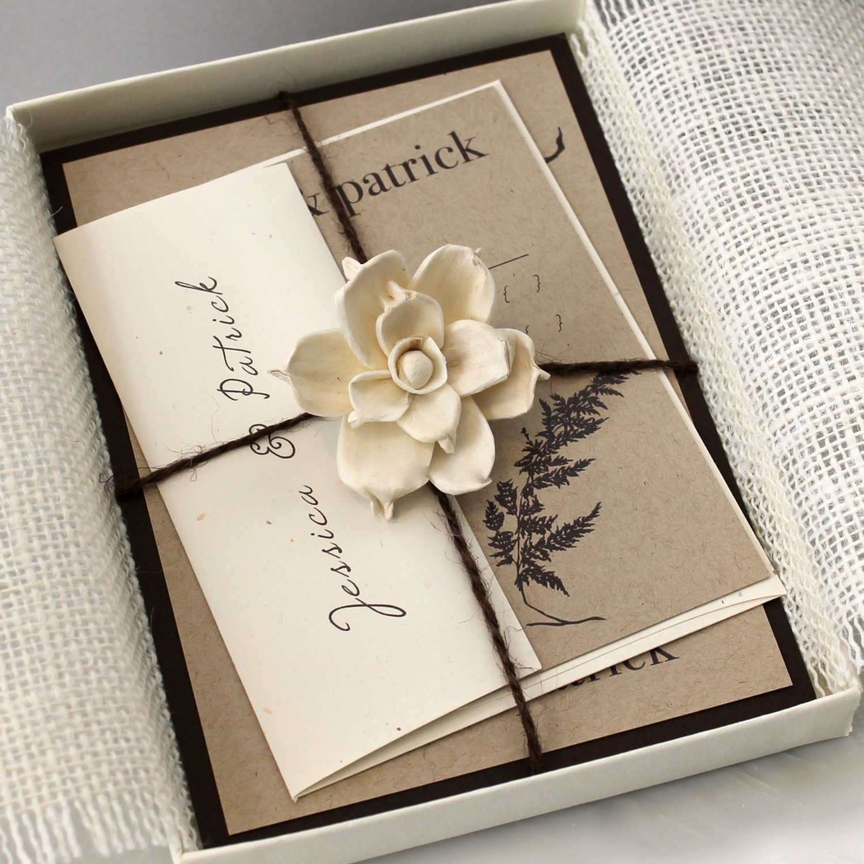 Rustic Burlap Boxed Wedding Invitations Enchanted Woodland