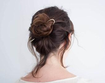 Hammered Texture Hair Pin   Brass Hair Pin