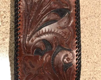 Leather wallet hand carved and laced