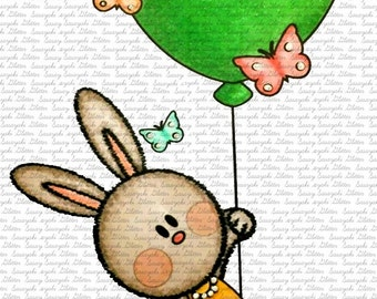 Flying Bunny Digital Stamp By Sasayaki Glitter