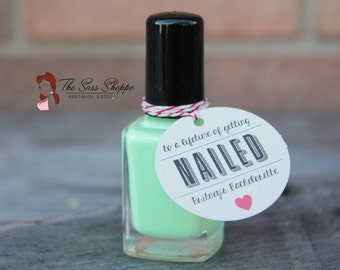 "To a Lifetime of Getting Nailed - Nail Polish Favor Tag for Bachelorette Party or Bridesmaids Gift - 1.5"" Diameter"