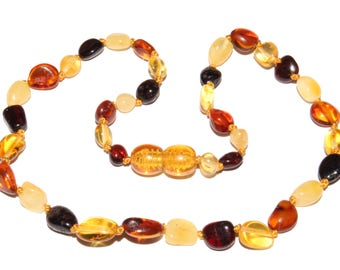 Genuine Baltic Amber Baby Teething Necklace Multicolor Beans Style Beads
