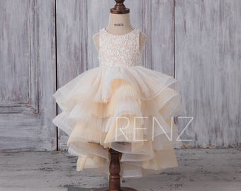 Flower Girl Dress Off White Lace Girls Dress,High Low Beige Tulle Skirt,Round Neck Ruffle Baby Party Dress,Junior Bridesmaid Dress(HK470)