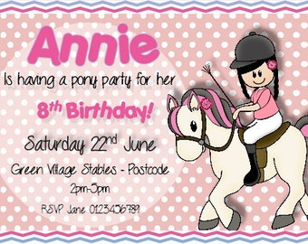 Printed Personalised Birthday Pony Party Invitations x10