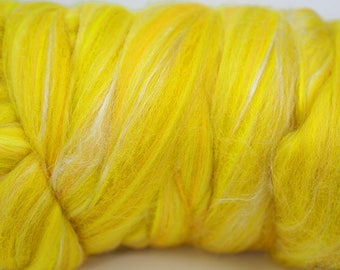 100g Yellow Lemon White Estra Fine Merino Wool Tussah Silk Blend Tops Roving, Felt Supplies, Wet Felting, Nuno Felting, Spinning