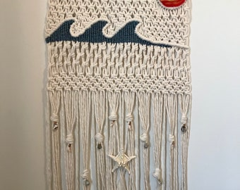 Nautical Wave Beach theme wall hanging with shells.