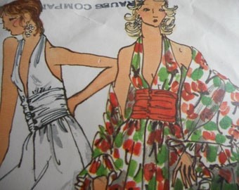 Vintage 1970's Vogue 8310 Lounge Dress or Pantdress and Shawl Sewing Pattern Size 10 Bust 32.5