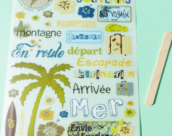 rub - travelling adventure Palm sea escape suitcase tong world globe vacation land mountain decal transfer scratch Toga