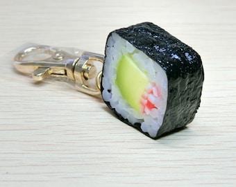 Kawaii, Japanease Craftsman fake food, Sushi, California roll, key ring, food sample