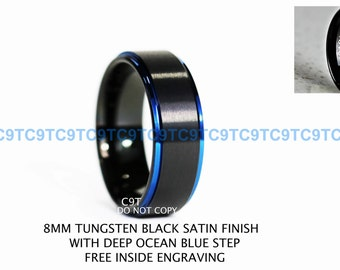 8MM Tungsten Ring, Black Satin Finish With Deep Ocean Blue Step, Custom Engraved Inside