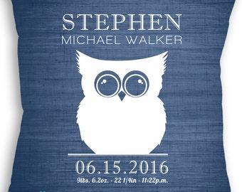 Owl - Custom Baby Girl or Boy Name Throw Pillow - Nursery - Birth Announcement - Baby Boy or Girl Nursery - Newborn Gift