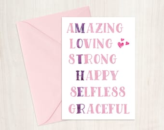 Mother, Amazing, Loving, Strong, Happy, Selfless, Graceful, Rhyme, Poem, Birthday Card, Mum, Mom, Mother, Handmade, Graphic Design