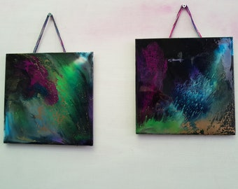 Intergalactic Fireworks- set of 2 square, hand poured, metallic, high gloss Resin artworks