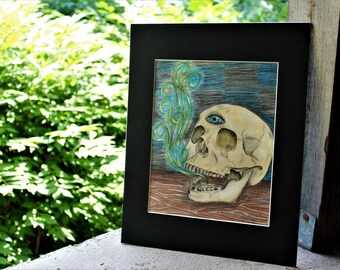 Skull Smoke Third Eye Colored Pencil Drawing
