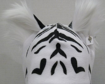 Tiger Fleece Ear Hat with FURRY Ears - NATURAL COLORS