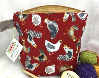 Chickens Knitting Bag, Crochet Bag, Knitting yarn Bag, Yarn Bag
