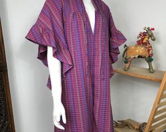 Vtg 70s purple pucker ruffle caftan maxi dress