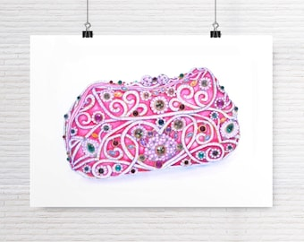 A3 Beaded Pink Bag Fashion Art Print Watercolor Fashion Illustration Designer Bag Fashion Wall Art Fashion Dressing Room Art Fashion Decor