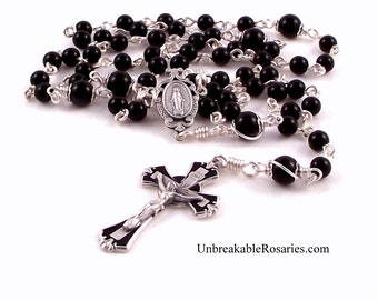 Onyx Miraculous Medal Rosary Beads With Black Enamel Crucifix by Unbreakable Rosaries