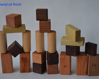 Wooden kids building blocks. All natural,  sanded with smooth edges. By Bruce Hay.