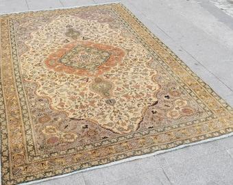 oushak rug, medium size rug ,vintage turkish oushak rug, large floor rugs,