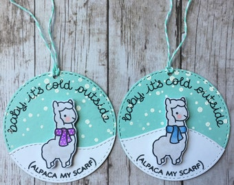 Baby Its Cold Outside (Alpaca My Scarf) Handmade Gift Tags (qty 2)