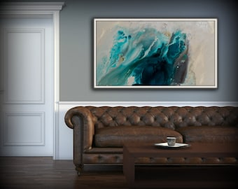 Merveilleux Abstract Art Blue Wall Art Coastal Landscape Giclee Large PRINT On Canvas  Large Gift For Her Modern Home Decor Wall Art Painting Dawning