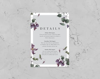 Purple Bloom Details Card - Printed Details Card - Personalised Details - Available with or without foil