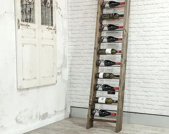 Vintage timber wine rack - Grapes and Ladders