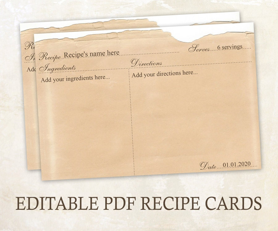 Editable Recipe Cards X Rustic Recipe Cards Editable Pdf Printable