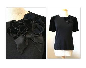 Vintage 90s Louis Ferard Elegant Knit Top M with Floral Flourish