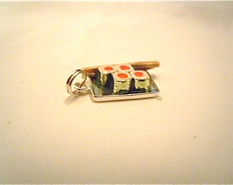 Sushi Charm Sterling Silver Charm Salmon Roll