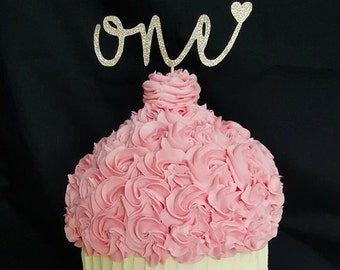 Number with heart cake topper