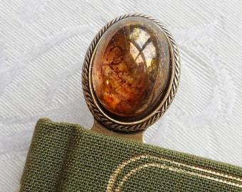 Bookmark. Vintage Czech Glass Cameo, Dragon Eye, Yellow, Antique Brass Finish