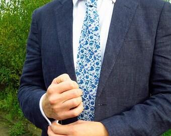 The Oxford Tie / Wedding Tie / Groomsman Tie / Mens Cotton Tie / Blue Paisley Tie