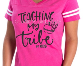 Tribe Teaching Shirt for Teachers Personalized with Teacher and School Name - Fun for Grade Level Teams, New Teachers, Homeschool Moms