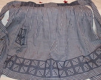 Vintage Bright Blue and White Gingham Check Apron with Blue Embroidery, Blue Checkered Apron