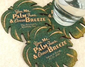 Wedding Favor Coasters, Personalized Shaped Cork Coasters, Palm Leaf Cork Coaster - Set of 12